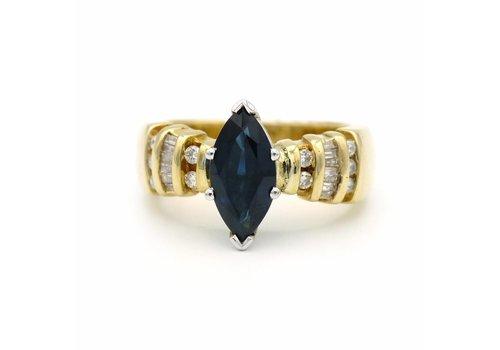 14 krt. geel gouden ring met saffier, diamant en briljant