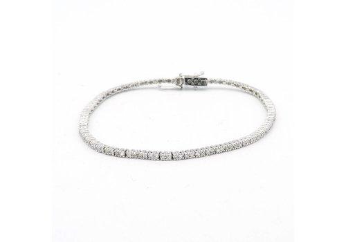 18 krt wit gouden armband met diamanten