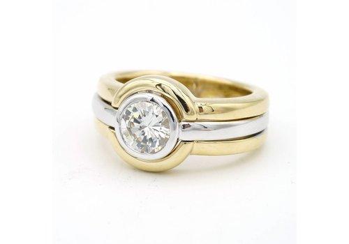 18 krt bicolor gouden ring met briljant