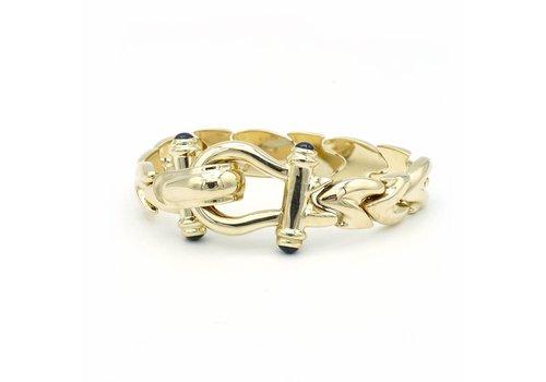 14 krt. geel gouden armband met saffier