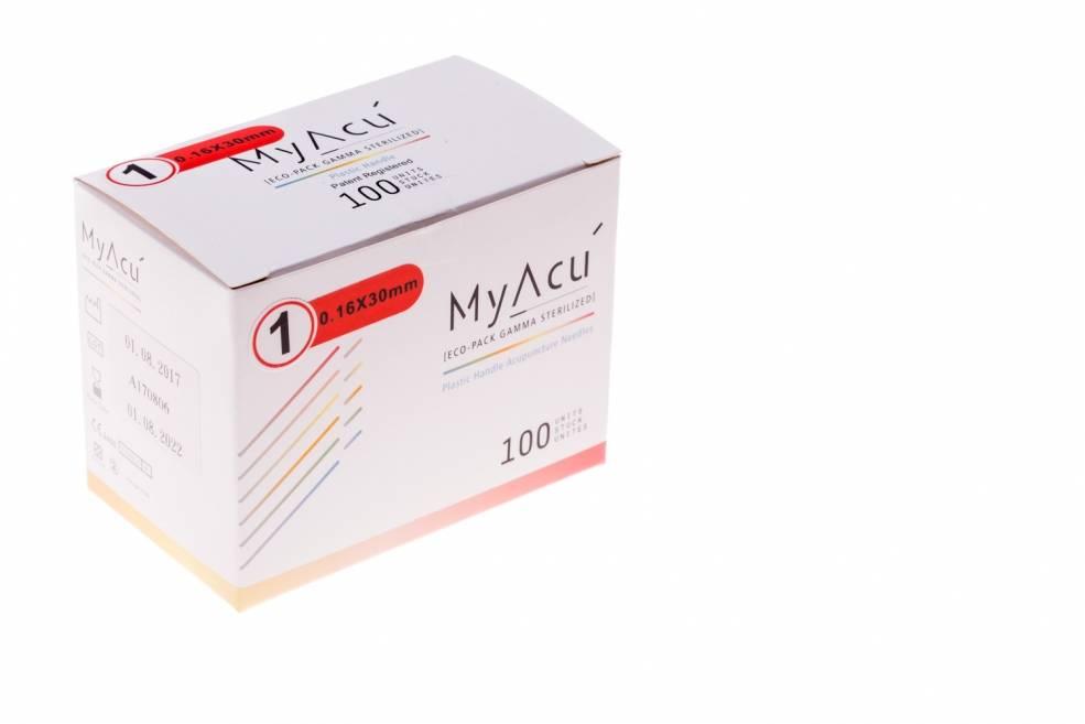MyAcu Akupunktur-Nadeln mit Kunststoffgriff - Guidetube 0,16x30 mm
