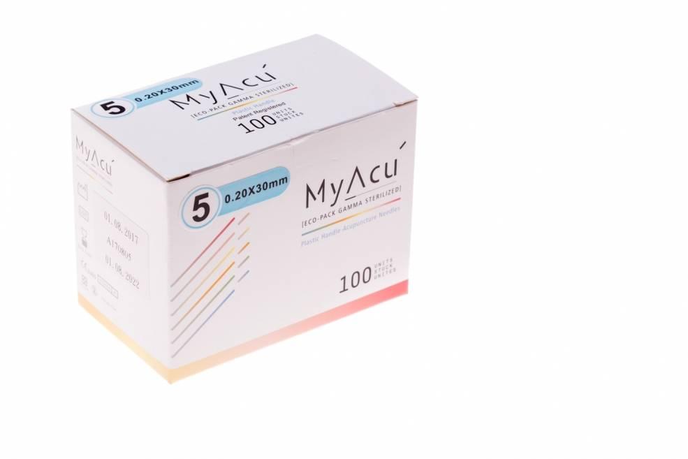 MyAcu Aiguilles avec manche en plastique Guidetube 0,20x30 mm (5)