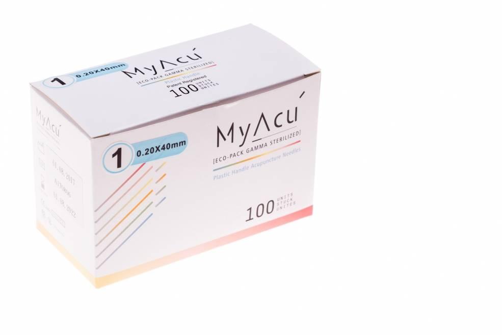 MyAcu Akupunktur-Nadeln mit Kunststoffgriff - Guidetube 0,20x40 mm