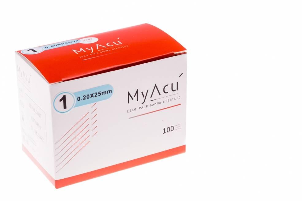 MyAcu Aiguilles avec manche en acier inoxydable Guidetube 0,20x25 mm