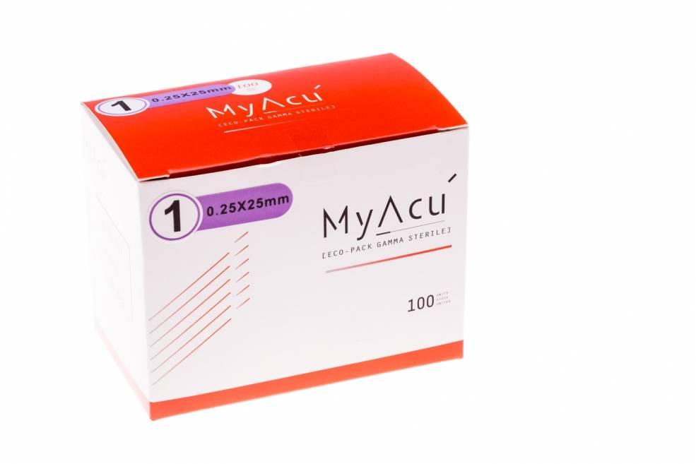 MyAcu Akupunktur-Nadeln mit rostfreiem Drahtgriff- Guidetube 0,25x25 mm