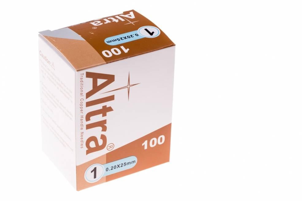 Altra Akupunktur-Nadeln mit Kupfer-Drahtgriff mit Schlaufe- Guidetube 0,20x25 mm