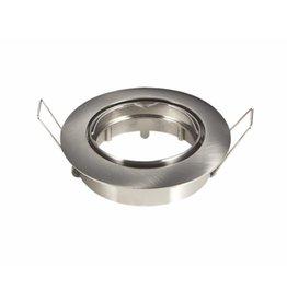 Inbouwspot geborsteld nikkel rond - kantelbaar - buitenmaat 82mm zaagmaat 74mm