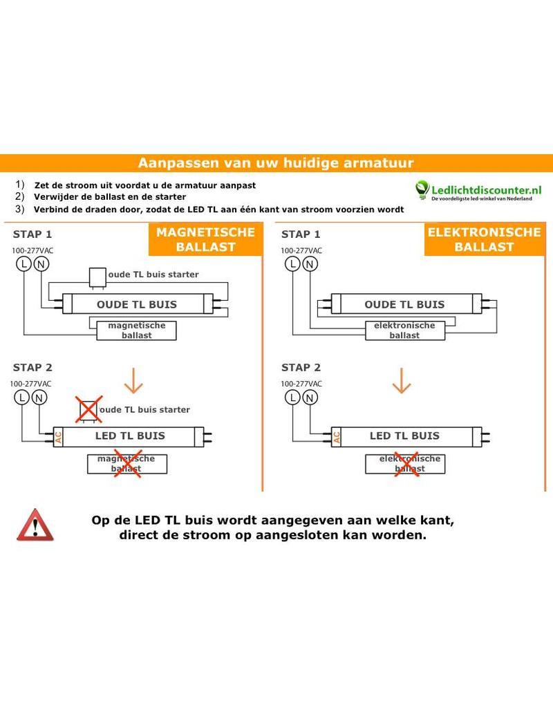 LED TL buis 1200 mm 4000K 18W (kleur 840, vervangt 36W ...