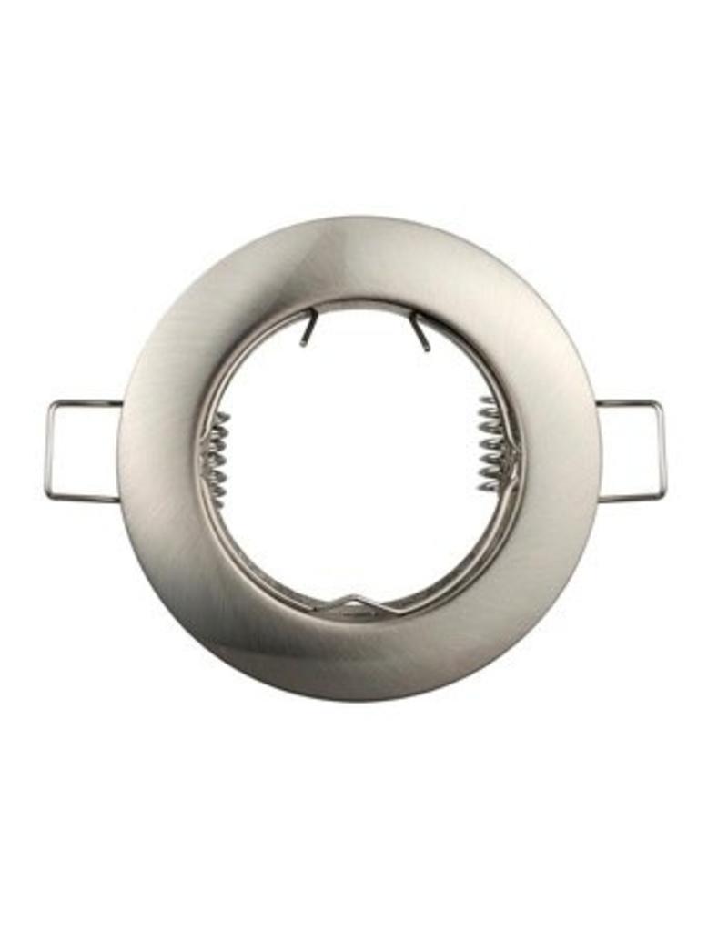 Inbouwspot geborsteld nikkel rond - niet kantelbaar - buitenmaat 80mm zaagmaat 65mm