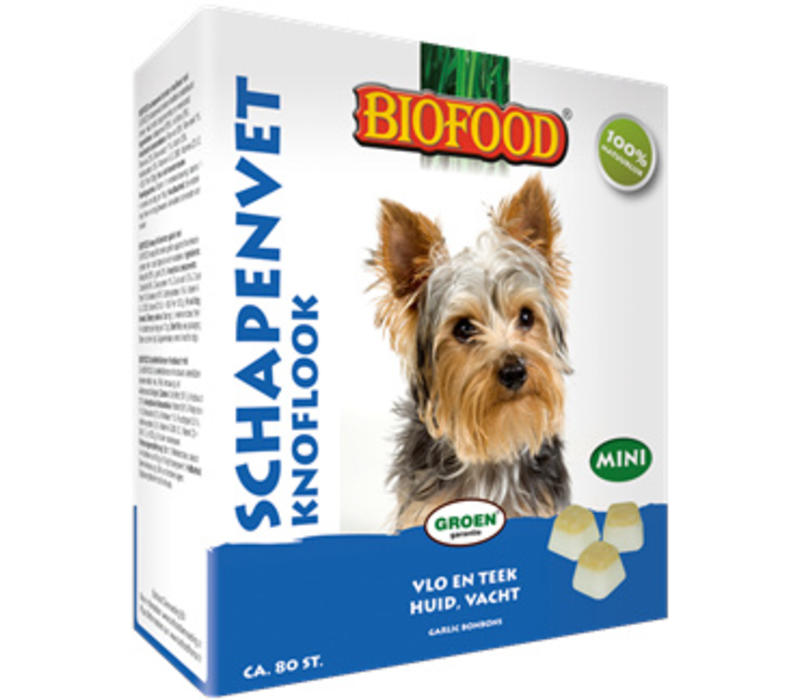 Biofood   Schapenvet mini knoflook   knoflook   schapenvet   80 stuks