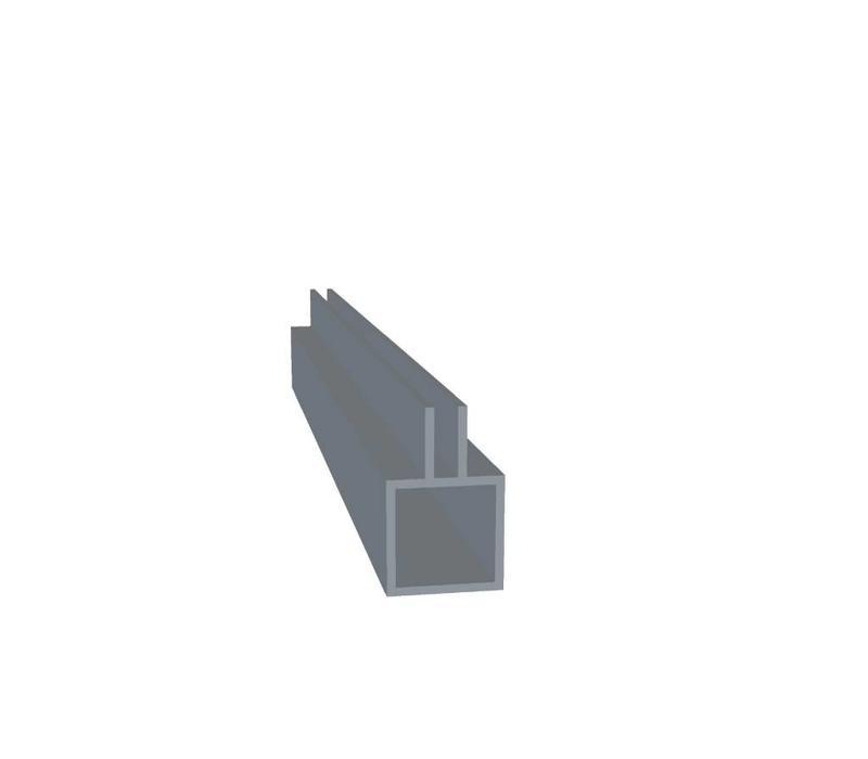 Aluminium Koker 20 x 20 x 1,5 mm | 1 flens (midden) 3,5 mm