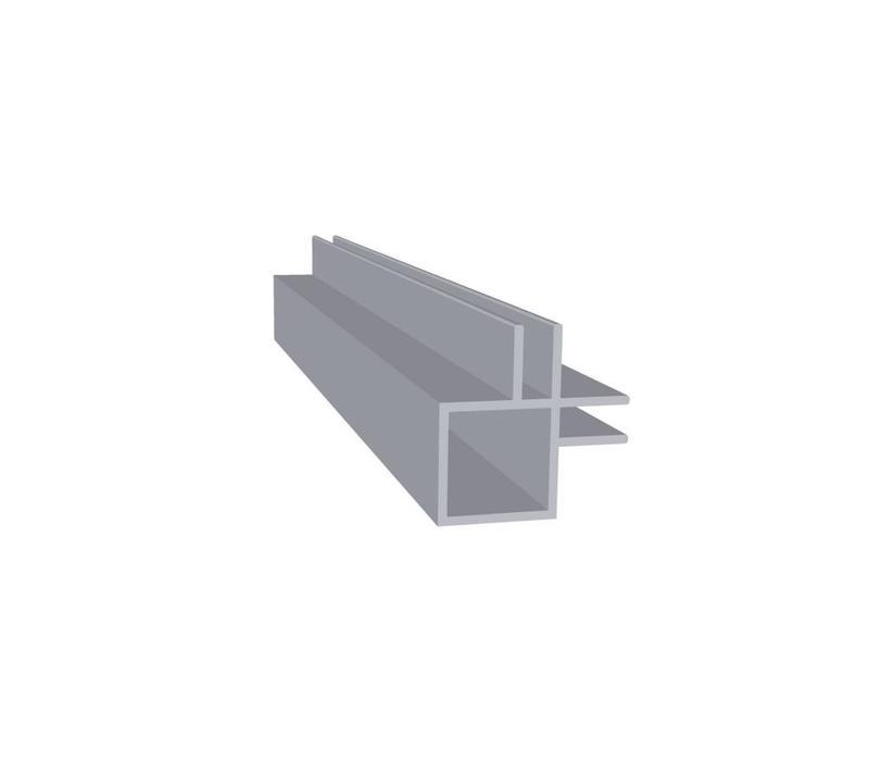 Aluminium Koker 20 x 20 x 1,5 mm   2 flens (binnen hoek) 4 mm