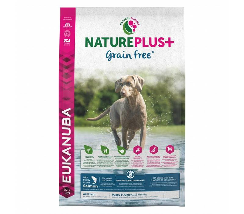 Nature Plus | GrainFree* | Salmon | All Breeds | 2.3KG | Puppy&Junior 1-12 Maanden