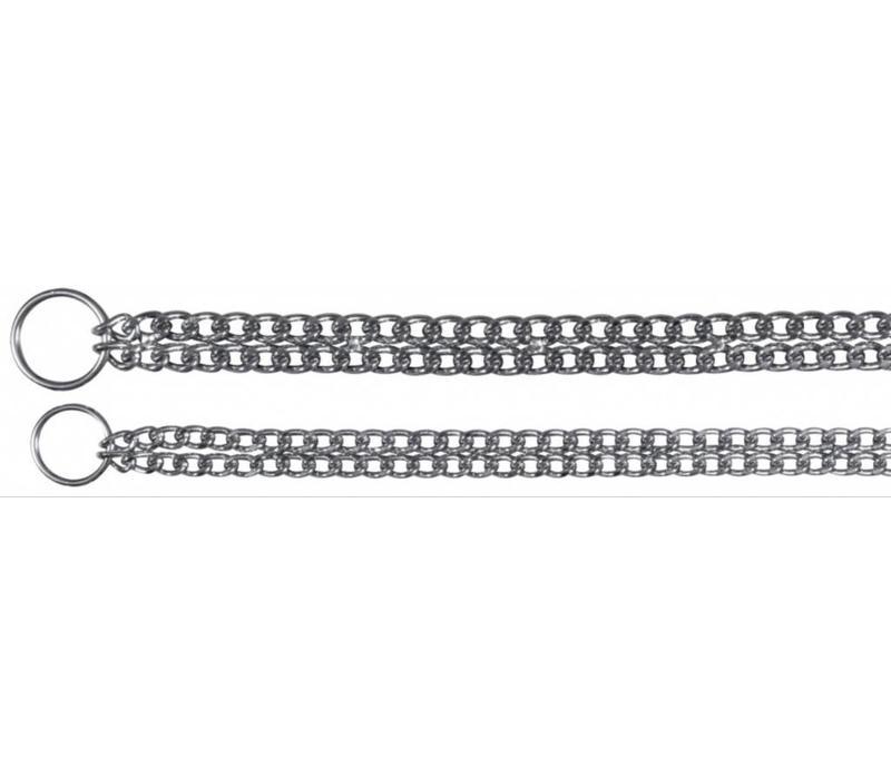 Wurghalsband, dubbele Ketting, verchroomd 60cm/2,5mm