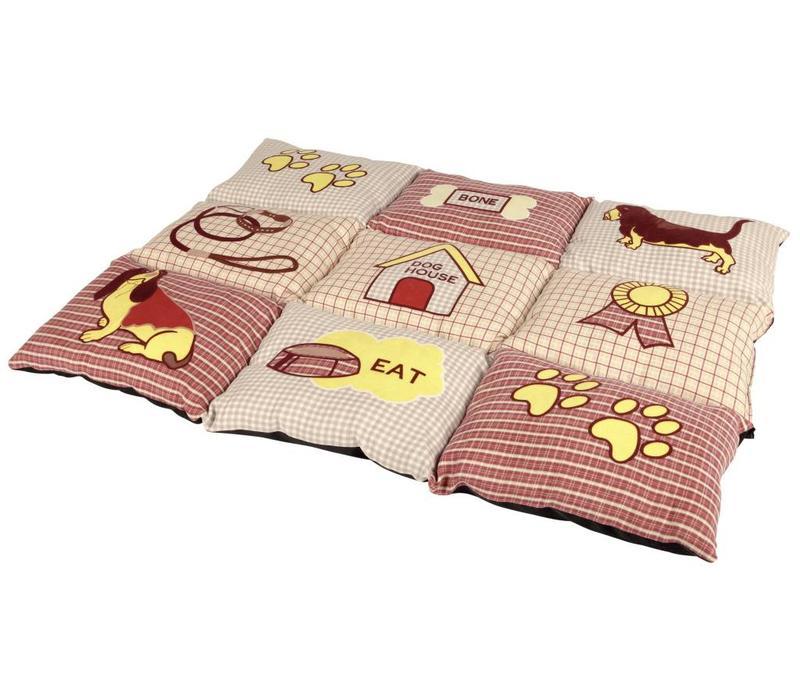 Patchwork deken 80x55CM rood/beige
