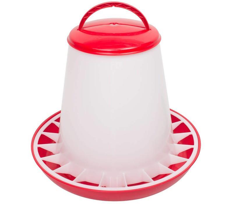 Voerhopper MET deksel inhoud 6 kg (rood/wit)