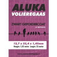 Aluka Gaas 12,7 x 25,4 x 1,45 mm Gepoedercoat gaas (Zwart) 25m