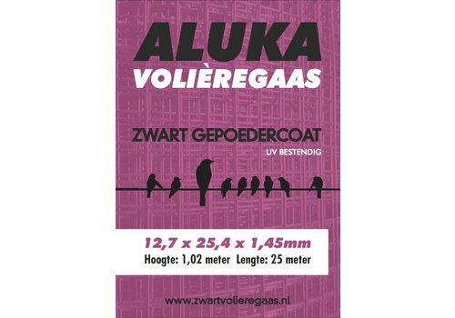 Aluka Aluka Gaas 12,7 x 25,4 x 1,45 mm Gepoedercoat gaas (Zwart) 25m