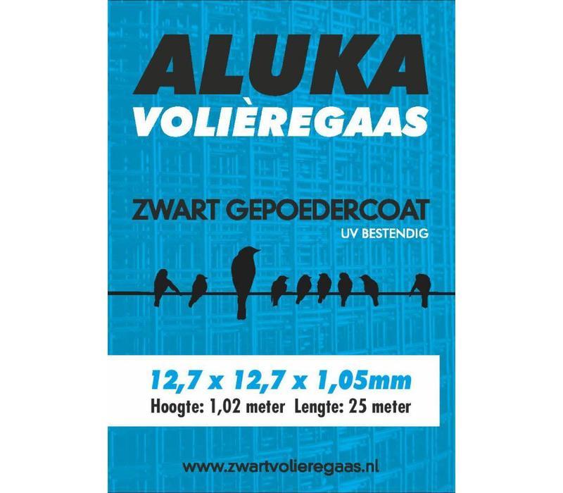 Aluka Gaas 12,7 x 12,7 x 1,05 mm Gepoedercoat gaas (Zwart) 25m