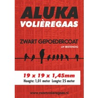 Aluka Gaas 19 x 19 x 1,45 mm Gepoedercoat gaas (Zwart) 25m