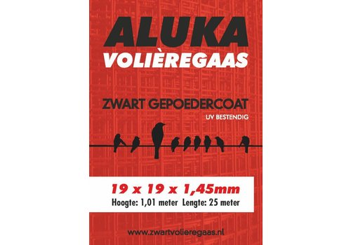 Aluka Aluka Gaas 19 x 19 x 1,45 mm Gepoedercoat gaas (Zwart) 25m