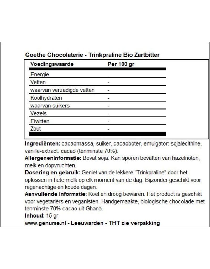 Goethe Chocolaterie Goethe Chocolaterie - Drinkpraline Extra Puur (70%)