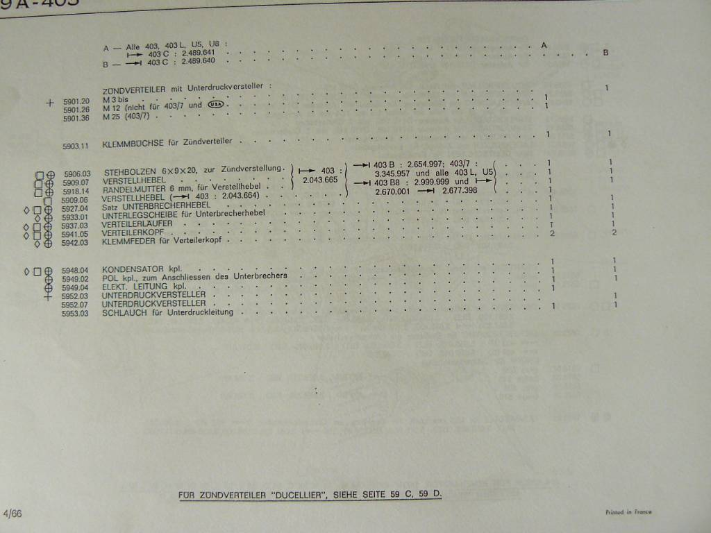 SEV Marchal Contact set SEV for 203/403