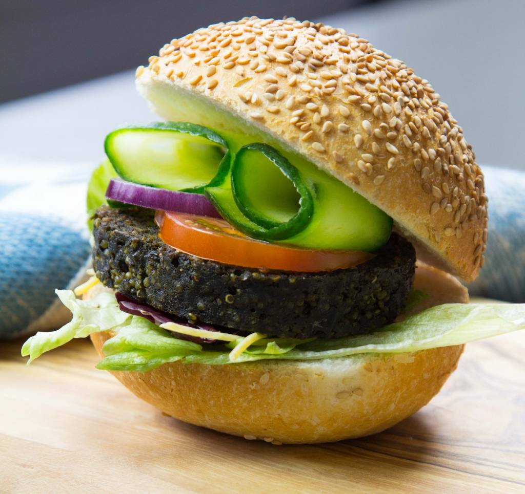 Algae burger with Quinoa