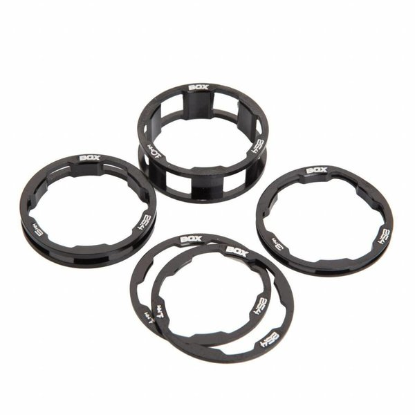 "BOX Zero stem spacers Kit 1 1/8"" 10, 5, 3, 1(2pcs)mm black"