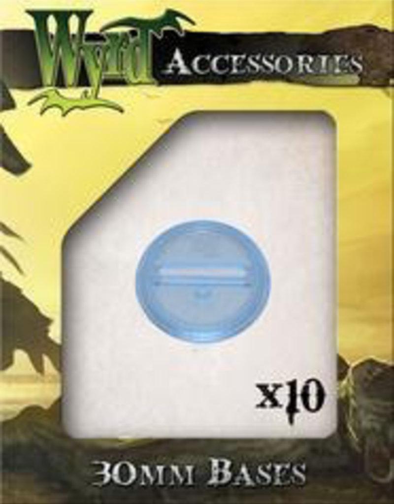WYR - Malifaux Zubehör Blue Translucent Bases 30mm (10)