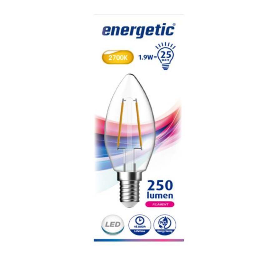 E14 Energetic Kaars Filament LED Lamp - 1,9W - Vervangt 25W