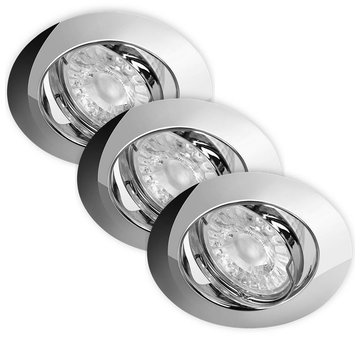 Lightexpert.nl LED Inbouwspots Dimbaar Murillo 3 Pack 5,5W - Chrome
