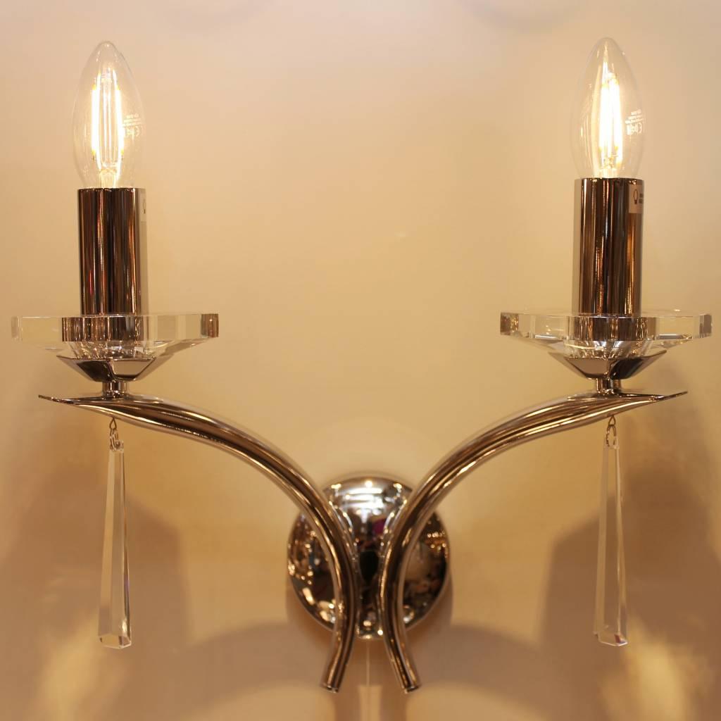 Art Deco Double Wall Light - Polished Chrome and Crystal - Lightbox