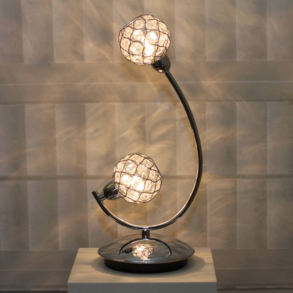 Glass Beaded Ball Table Lamp Polished Chrome Lightbox