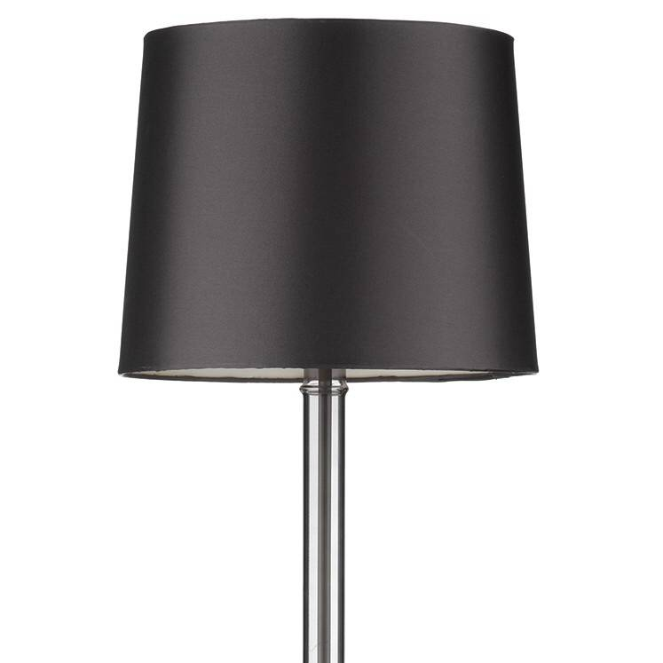 Smoked Glass Table Lamp with Grey Faux Silk Shade - Lightbox