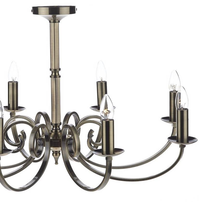 8 Light Candle Chandelier Antique Brass
