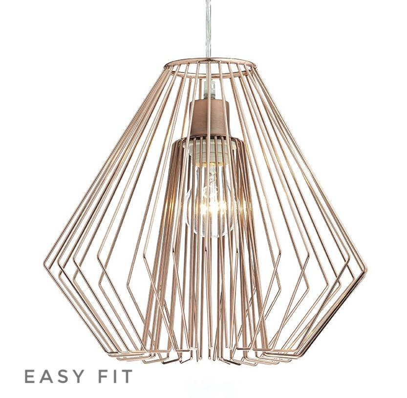 Cage polished copper wirework easy fit pendant lightbox cage polished copper wirework easy fit pendant shade only aloadofball Choice Image
