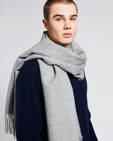 Detale Studio Ludo large alpaca scarf / light grey
