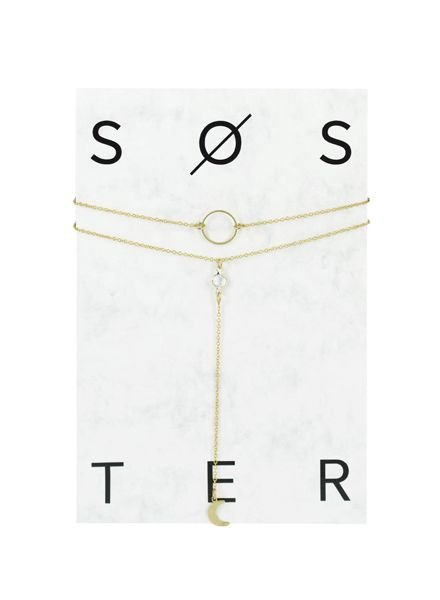SOSTER Gold Necklace Moon And Back