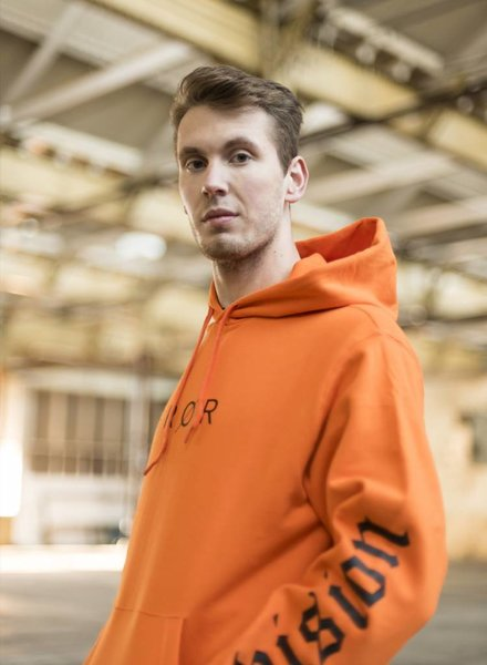 BROR Orange Hoodie  Printed sleeves