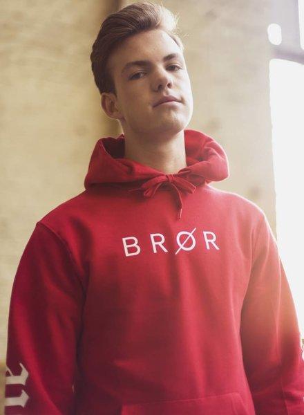 BROR Red Hoodie  Printed Sleeve