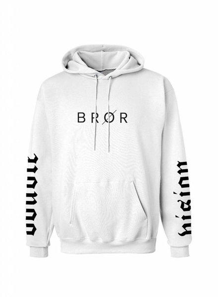 BROR White Hoodie  Printed Sleeves