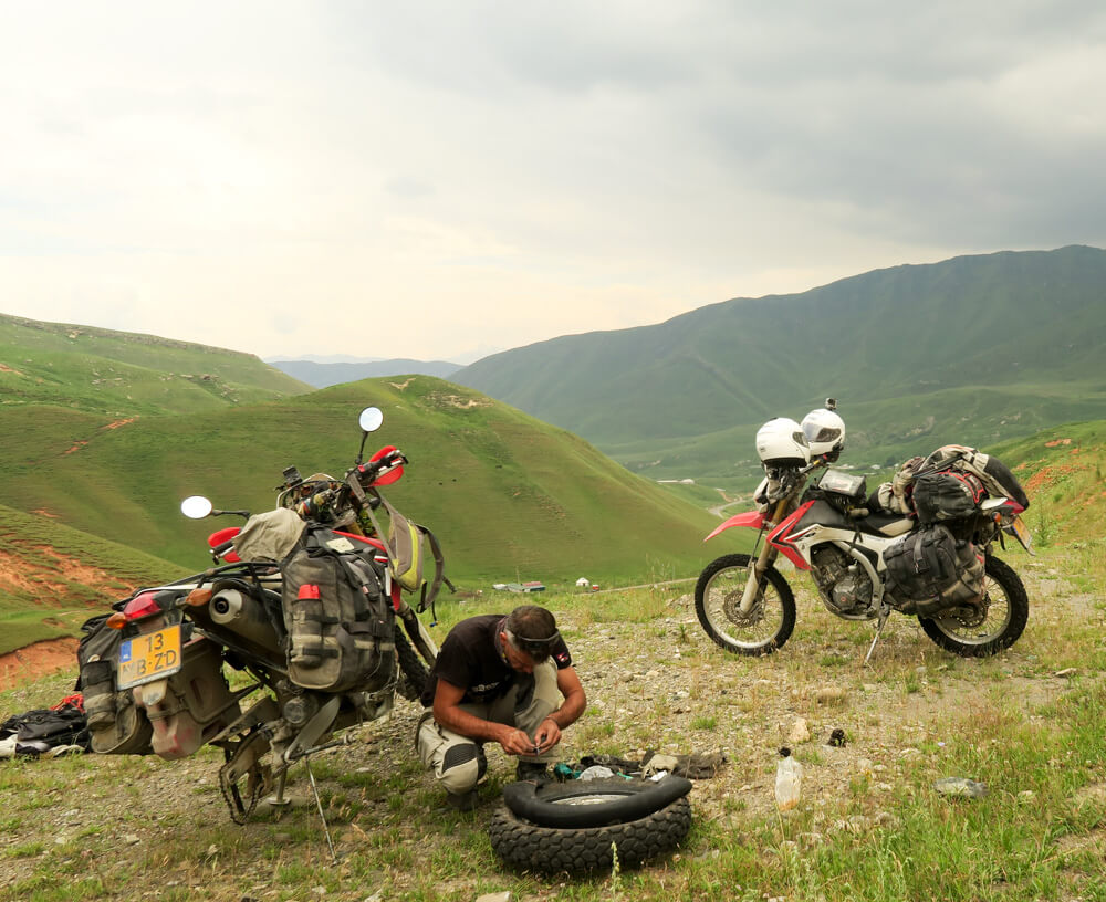 Flat tire in the Pamirs