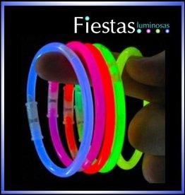 fiesta Pulseras luminosas, fluorescente.   100 pulseras neón y 100 conectores.