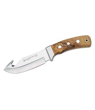 PUMA IP Jagdmesser Schwarzwild Olive, Stahl 1.4125, Aufreisshaken, Neusilberbacken, Lederscheide