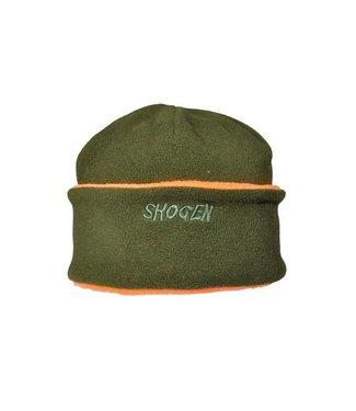 Skogen Omkeerbare fleece muts met Signaal Groen/Oranje