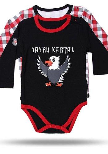 BJK BABY BODY SET VAN 2 ST. 02 ZWART-ROOD