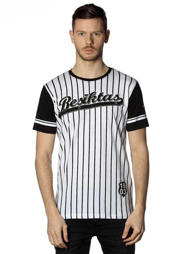 Beşiktaş mens striped college t-shirt 7718117 BLACK-WHITE