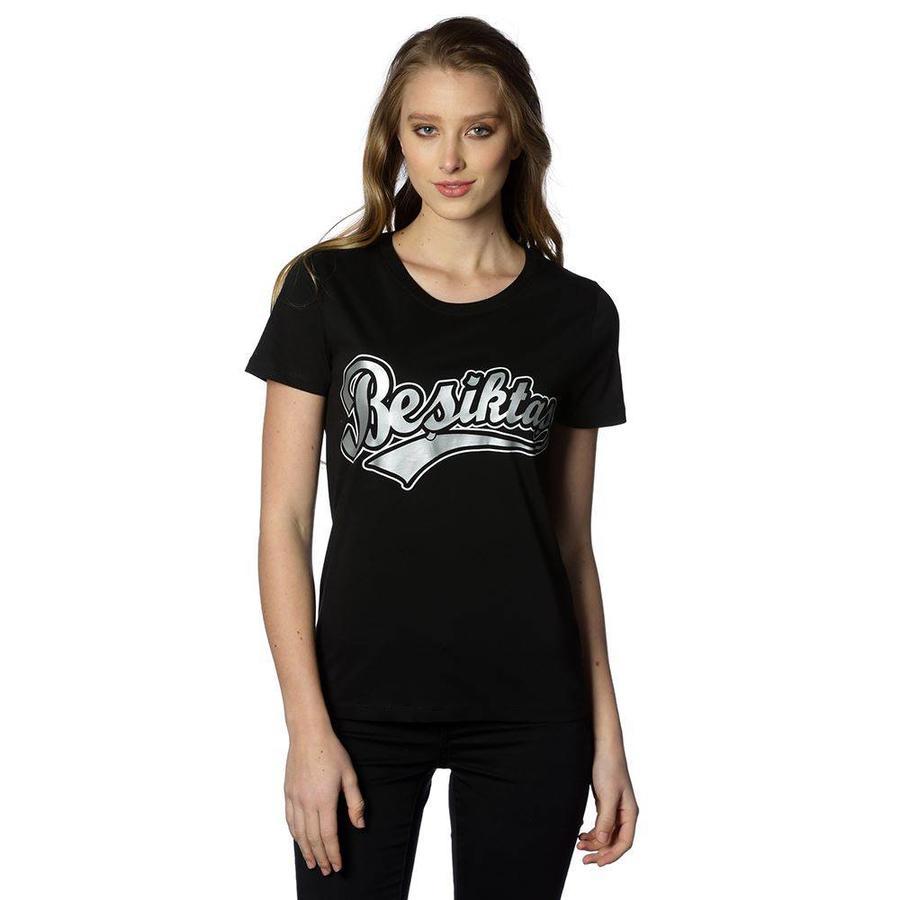 Beşiktaş College T-Shirt Speciaal Bedrukt Dames 8818103 Zwart