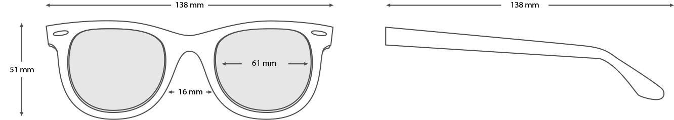 measurements wooden sunglasses